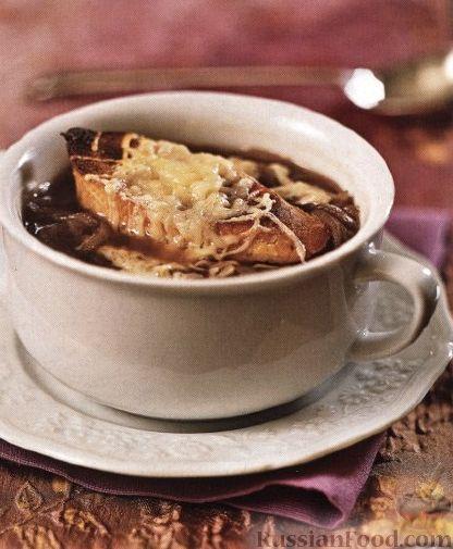 Рецепт Луковый суп с сырной гренкой
