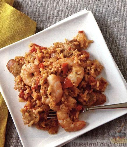Рецепт Рис с креветками, домашней колбасой и овощами