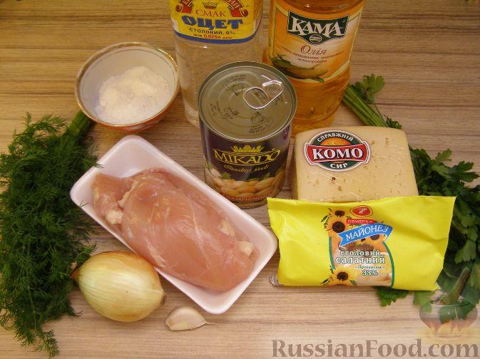 салат из шампиньонов и курицы рецепт с