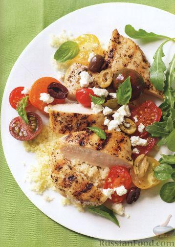 Рецепт Куриное филе с салатом из помидоров и оливок