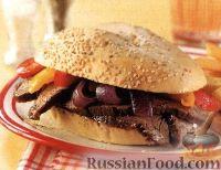 Фото к рецепту: Сэндвич с говядиной и овощами