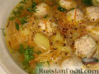 Фото к рецепту: Суп с куриными фрикадельками и кольраби