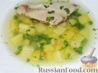 Фото к рецепту: Картофельный суп с курицей и зеленым горошком