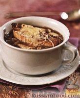 Фото к рецепту: Луковый суп с сырной гренкой