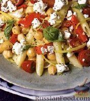 Фото к рецепту: Макароны с помидорами и турецким горохом
