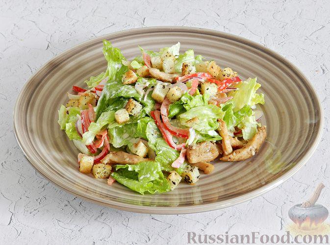 Фото приготовления рецепта: Салат с курицей, сырными шариками и мандаринами - шаг №16