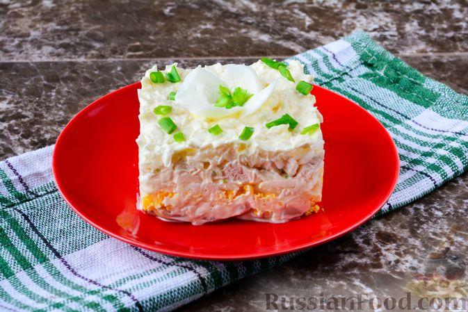 """Фото приготовления рецепта: Слоёный салат """"Белый"""" с курицей, фасолью и рисом - шаг №14"""