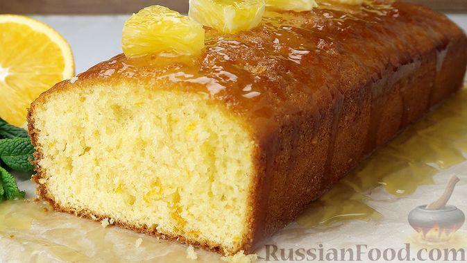 Фото к рецепту: Апельсиновый кекс под сладким соусом