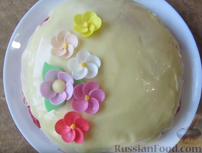 Фото приготовления рецепта: Блинный торт с клубникой и творогом - шаг №17