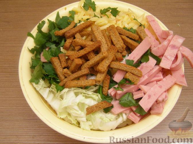 салат с пекинской капустой с сухариками рецепт