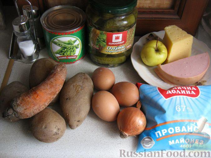 рецепт салата соленые огурцы и колбаса