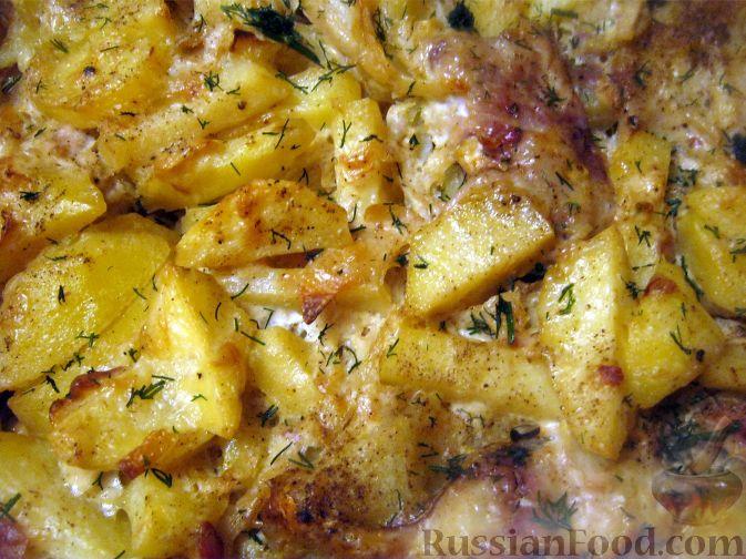 Рецепт Скумбрия с картофелем, запеченные под майонезом