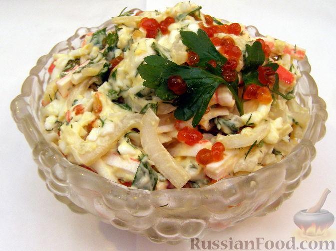 Рецепт Салат с кальмарами и красной икрой