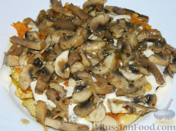 Курица с картошкой с грибами и помидорами в духовке рецепт