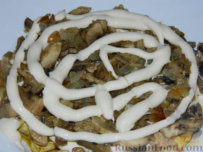 рецепт салата подсолнух с грибами и кукурузой рецепт