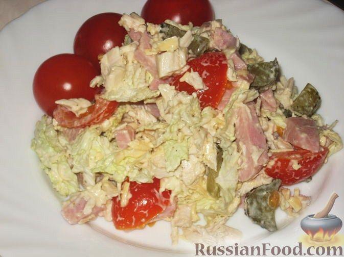Рецепт Салат мясной с овощами и сыром