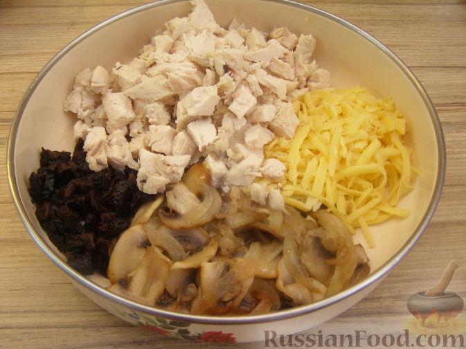 салат березка из курицы с грибами рецепт