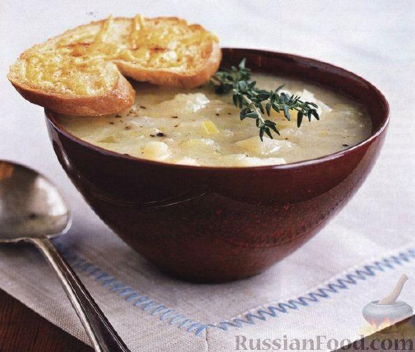 Рецепт Легкий картофельный суп с сырными тостами