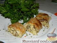Фото к рецепту: Роллы с мясом на завтрак