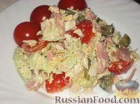 Фото к рецепту: Салат мясной с овощами и сыром