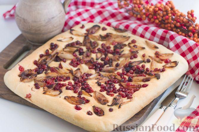 Фото к рецепту: Фокачча с луком и клюквой