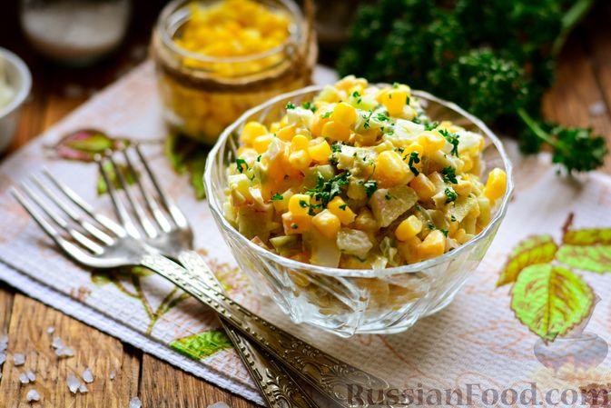 Фото к рецепту: Салат из редьки с яйцом и кукурузой