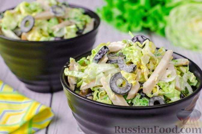 Фото к рецепту: Салат из пекинской капусты и копченой курицы