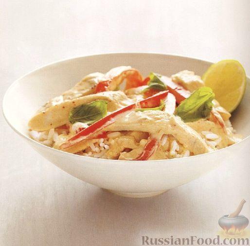 Рецепт Куриное филе с болгарским перцем и кокосовым молоком