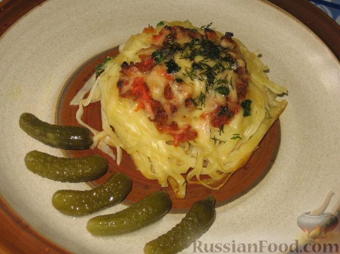 Рецепт Запеченные гнезда-спагетти с фаршем