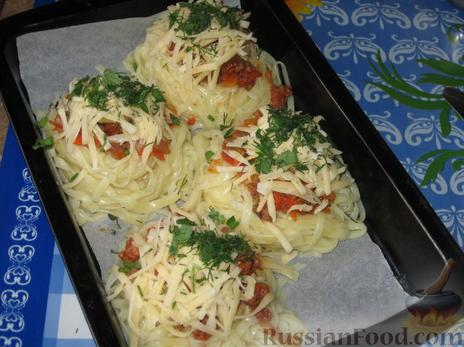 макароны гнезда с фаршем в духовке рецепт с фото