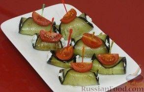 Рецепт Рецепт пикантной закуски – рулетики из баклажанов с сырно-ореховой начинкой
