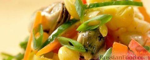 Рецепт Салат с мидиями и красным перцем