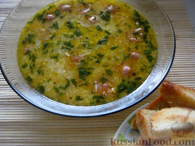 Рецепт Сырный суп с сосисками