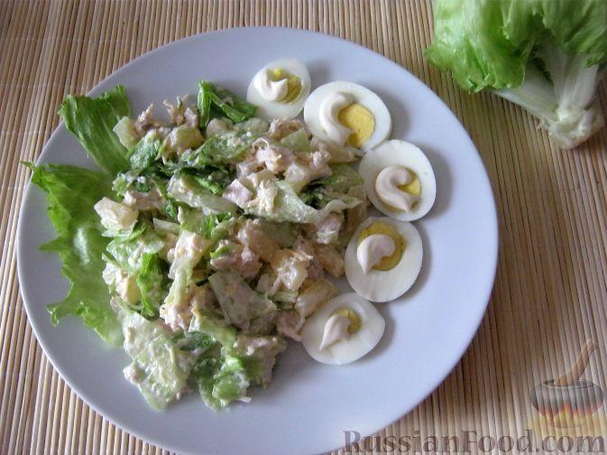 "Фото приготовления рецепта: Салат ""Курица с ананасами"" - шаг №10"