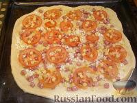 Фото приготовления рецепта: Пицца с сыром и колбасой - шаг №15