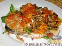 Фото к рецепту: Тунец с шампиньонами, апельсинами и томатами