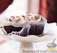 Фото к рецепту: Шоколадные кексы с сырной глазурью