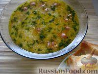 Фото к рецепту: Сырный суп с сосисками