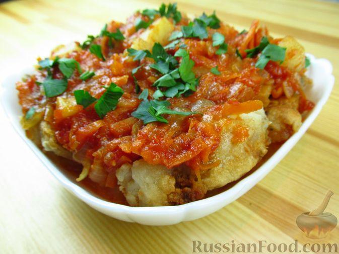 Фото к рецепту: Жареная рыба в томатном соусе с ананасами