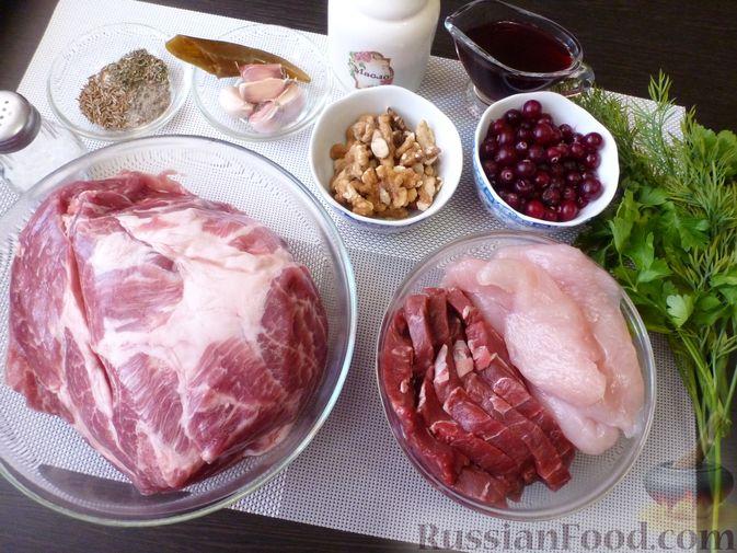 """Фото приготовления рецепта: Буженина """"Мясное ассорти"""" (из свинины, говядины и курицы) - шаг №1"""
