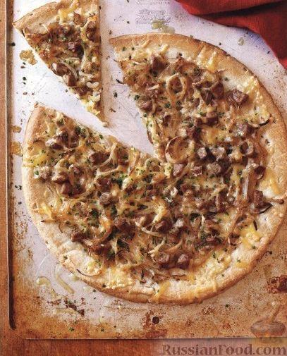Рецепт Пицца с луком и колбасой