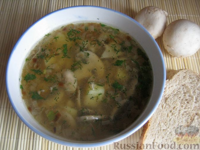 Рецепт Простой грибной суп из шампиньонов