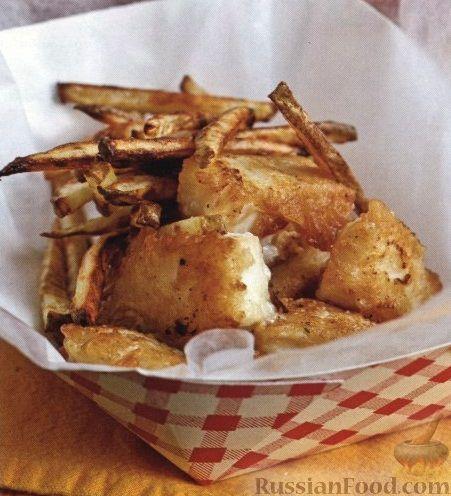 Рецепт Рыба, жаренная в кляре, с жареным картофелем