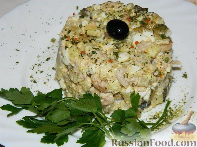 Салат каприз с курицей рецепт