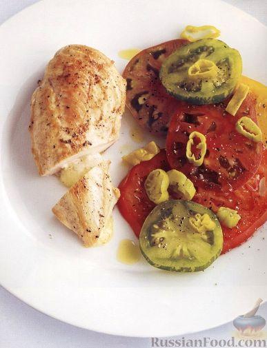 Рецепт Фаршированное куриное филе с помидорами и перцем