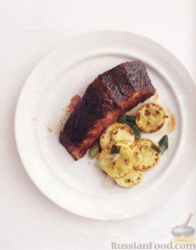 Рецепт Жареный лосось с цуккини