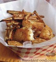 Фото к рецепту: Рыба, жаренная в кляре, с жареным картофелем