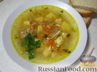 Фото к рецепту: Суп из говядины с клецками