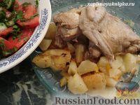 Фото к рецепту: Курица с картофелем (рецепт для мультиварки)
