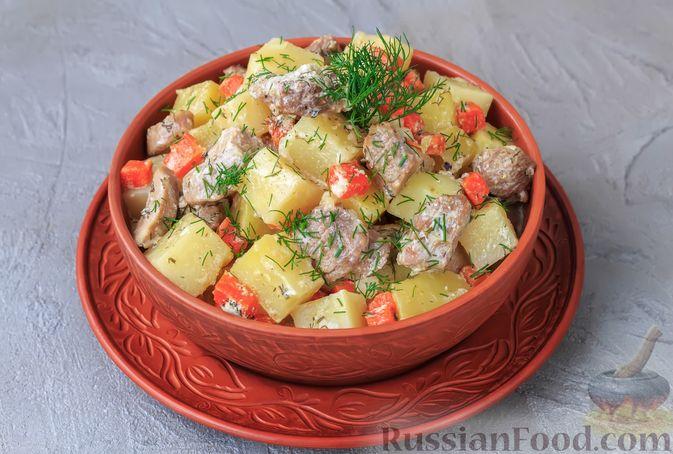 Фото приготовления рецепта: Дрожжевой пирог с картошкой, грибами и зелёным луком - шаг №14